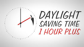Daylight saving time. A clock at the wall with text daylight saving time 1 hour plus royalty free illustration