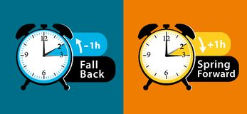 Daylight saving time date question. Colorful winter time and summer time alarm clocks set. Fall back and spring forward. Colorful vector illustration royalty free illustration