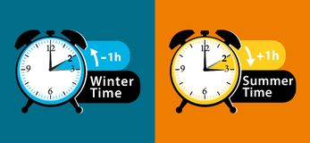 Daylight saving time date question. Colorful winter time and summer time alarm clocks set. Colorful illustration. Stock Photo