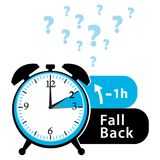 Daylight saving time date question. Fall back. Colorful winter time alarm clock. Colorful illustration. Stock Photos