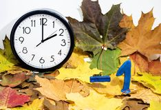 Daylight Saving Time. Wall Clock going to winter time stock images