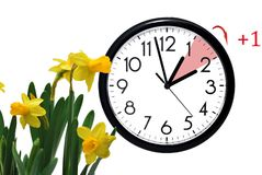 Daylight Saving Time. Change clock to summer time. Daylight Saving Time. DST. Wall Clock going to winter time. Turn time forward. Abstract photo of changing royalty free stock images