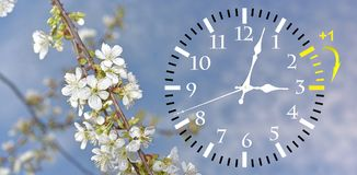 Daylight Saving Time. Change clock to summer time. Daylight Saving Time. DST. Wall Clock going to winter time. Turn time forward. Abstract photo of changing stock photography