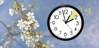 Daylight Saving Time. Change clock to summer time. Daylight Saving Time. DST. Wall Clock going to winter time. Turn time forward. Abstract photo of changing royalty free stock photo