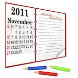 Daylight saving time ends. Daylight saving time ends sunday, november 6, 2011 at 2 am. Notebook with calendar Royalty Free Stock Photography