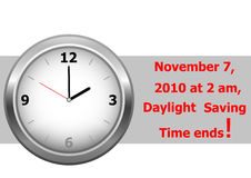 Daylight saving time ends. vector. Icon clock. daylight saving time ends sunday, november 7, 2010 at 2 am. vector royalty free illustration
