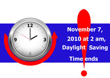 Daylight saving time ends. vector. Royalty Free Stock Images