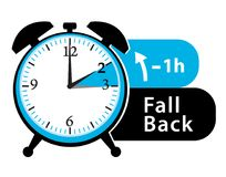 Daylight saving time. Fall back alarm clock icon. Royalty Free Stock Image