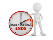 Daylight saving time. Man points to the time change to daylight saving time on white background vector illustration