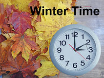 Daylight Saving Time. Wall Clock going to winter time stock photo