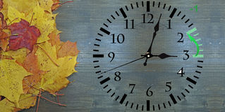 Daylight Saving Time. Wall Clock going to winter time royalty free stock images