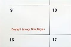 Daylight Savings Begins. Calender date showing daylight savings time begins stock image