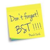Daylight savings, BT starts. Sticky note reminder. Stock Images