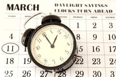 Daylight Savings Spring Forward sunday at 2:00 a.m. March 11 date indicated in the calendar royalty free stock images