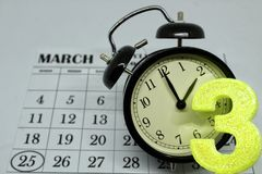 Daylight Savings Spring Forward sunday at 2:00 a.m. March 25 date indicated in the calendar royalty free stock photography
