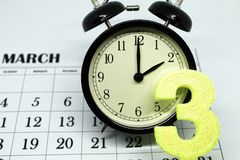 Daylight Savings Spring Forward sunday at 2:00 a.m. March 25 date indicated in the calendar stock images