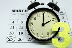 Daylight Savings Spring Forward sunday at 2:00 a.m. March 25 date indicated in the calendar royalty free stock photo