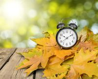 Daylight Savings Time. Autumn Clock Time Leaf Season Spring Royalty Free Stock Images