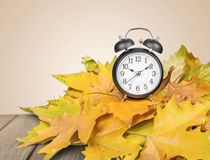 Daylight Savings Time. Autumn Clock Time Leaf Season Spring Sky Royalty Free Stock Image