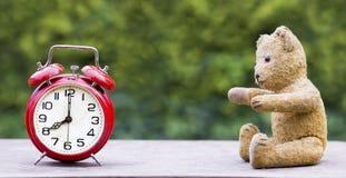 Daylight savings time concept, web banner idea. Daylight savings time concept - web banner of a red retro alarm clock and a toy bear stock photos