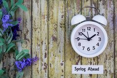 Daylight Savings Time Spring Ahead concept flat lay. Daylight Savings Time Spring concept top down view with white clock and lilacs on distressed wooden board royalty free stock images