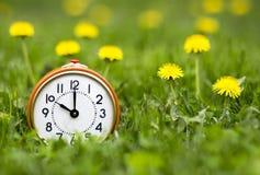 Daylight savings time, spring forward - alarm clock and dandelion flowers. Daylight savings time, spring forward concept - retro alarm clock and dandelion stock images