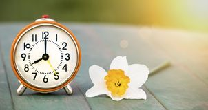 Daylight savings time, spring forward - alarm clock and easter flower banner. Daylight savings time, spring forward concept - web banner of a retro alarm clock stock images