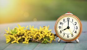 Daylight savings time, spring forward - banner of an alarm clock and flowers. Daylight savings time, spring forward concept - web banner of a retro alarm clock stock image