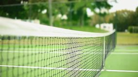 Daylight Shot of Net at Tennis Court from Inside of the Court stock video footage