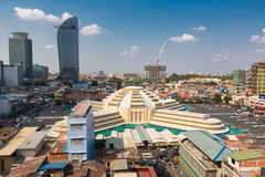 Daylight skyline of Phnom Penh center district with Central Mark Stock Photo