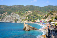 Daylight sunny day view to blue sea, beachline and green mountains Stock Photos