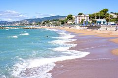 Daylight sunny view to beachline and sea of Cannes resort in Fra Royalty Free Stock Image