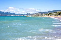 Daylight sunny view to beachline and sea of Cannes resort in Fra Royalty Free Stock Images