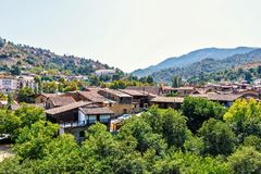 Daylight view from above to city buildings and Troodos Mountains royalty free stock photography