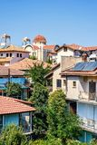 Daylight view from above to city buildings in Troodos stock images