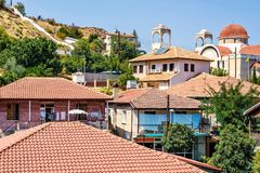 Daylight view from above to city buildings in Troodos royalty free stock images