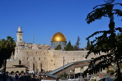 Daylight view on Dome of Rock and western wall in Jerusalem Israel, Kotel, golden dome, blue sky stock photography