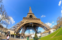 Daylight view of the Eiffel Tower (La Tour Eiffel), is an iron lattice tower located on the Champ de Mars. PARIS - MAR 2: Daylight view of the Eiffel Tower (La Stock Photography