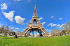 Daylight view of the Eiffel Tower (La Tour Eiffel), is an iron lattice tower located on the Champ de Mars. PARIS - MAR 2: Daylight view of the Eiffel Tower (La Royalty Free Stock Photos