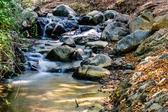 Daylight view to little river smoothly flowing through rocks. Long exposure photography. Trees and park on background. Negative copy space, place for text Stock Photography