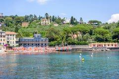 Daylight view to Rapallo city, beachline, mountains and sky Royalty Free Stock Photos