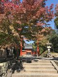 Daylight view to red gate entering in a japanese temple stock photos
