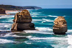 Daylight view of two of Twelve Apostles by Great Ocean Rd Royalty Free Stock Photos