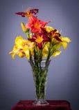 Daylilies in een vaas Stock Foto