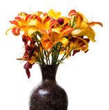 Daylillies in a vase Royalty Free Stock Images
