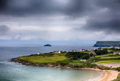 Daymer bay beach landscape in Cornwall UK Royalty Free Stock Photo