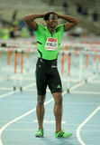 Dayron Robles of Cuba. After of his failure on 110m hurdles Event of Barcelona Athletics meeting at the Olympic Stadium on July 22, 2011 in Barcelona, Spain Stock Photo