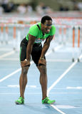 Dayron Robles of Cuba. After of his failure on 110m hurdles Event of Barcelona Athletics meeting at the Olympic Stadium on July 22, 2011 in Barcelona, Spain Stock Photos