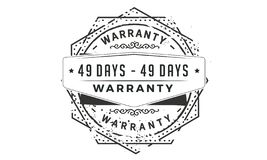 49 days warranty classic retro design icon stock illustration