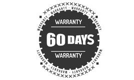 60 days black warranty illustration design. 60 days warranty illustration design stamp badge icon royalty free illustration